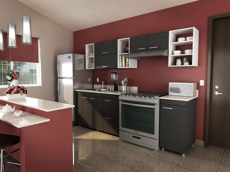 Renueva tu cocina con gabinetes color gris y combina con un tono terracota en las paredes.