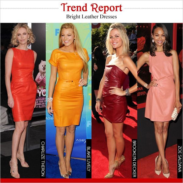 New trend - bright leather dresses have major moment right now