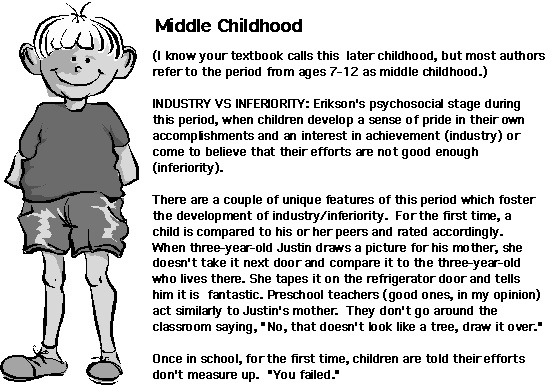 In middle childhood development children are capable to think of more than one aspect at a time.  During this time children also become aware of their sex and compare themselves to other children. team d - Malia  http://www.spiritlakeconsulting.com/