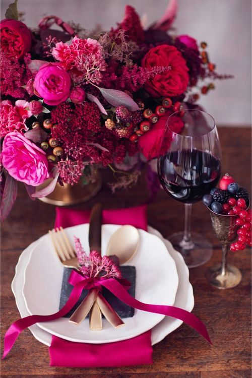 Time for wine & dinning…Hot pink & fuchsia flowers & accents <3: Table Settings, Wedding Color, Place Settings, Wedding Ideas, Weddings, Pink, Color Palette, Flower