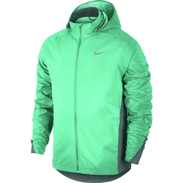 Nike Shield Running Jacket ($175) ❤ liked on Polyvore featuring men's fashion, men's clothing, men's activewear, men's activewear jackets and mens activewear