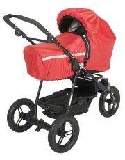 Pokrowiec przeciwdeszczowy do gondoli wózka dla dzieci z paskiem odblaskowym.