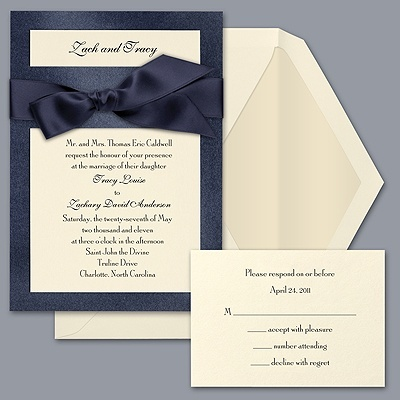 These were our wedding invites (although our backing was velvet) David's Bridal Invitations: Marine Blue & Antique White.