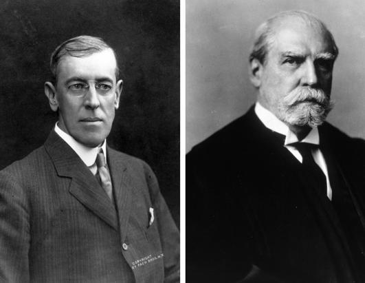 Woodrow Wilson, left, vs. Charles Evans Hughes, 1916