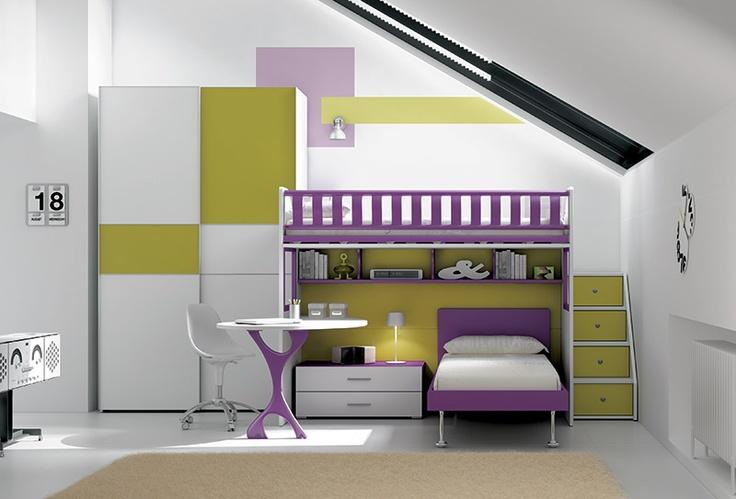 """#Arredamento #Cameretta Moretti Compact: Collezione 2012 """"Team"""" > Kids – Soluzione a #Soppalco >> ks30 http://www.moretticompact.it/kids.htm"""