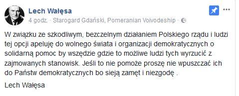 autor: fot.Facebook/Lech Wałęsa