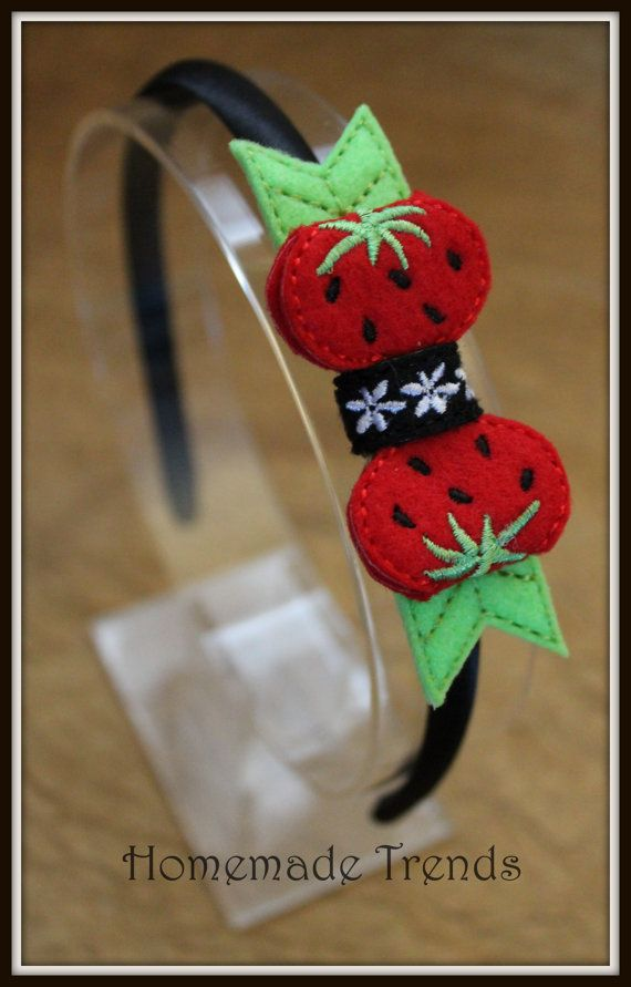 Strawberry Inspired 3D Bow Headband by HomemadeTrends on Etsy, $7.00