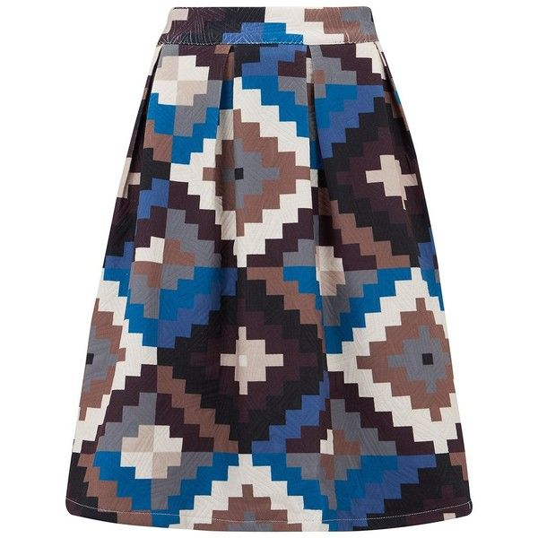 Almost Famous Aztec Skirt (€135) ❤ liked on Polyvore featuring skirts, blue, women, blue skirt, aztec skirt, pattern a line skirt, aztec print skirt and print skirt