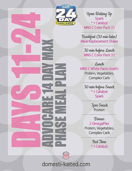 AdvoCare 14 Day Max Phase Meal Plan | Advocare | Pinterest ...