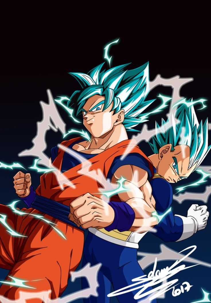 Goku and Vegeta _V-jump cover march 2017 by ChibiDamZ on DeviantArt