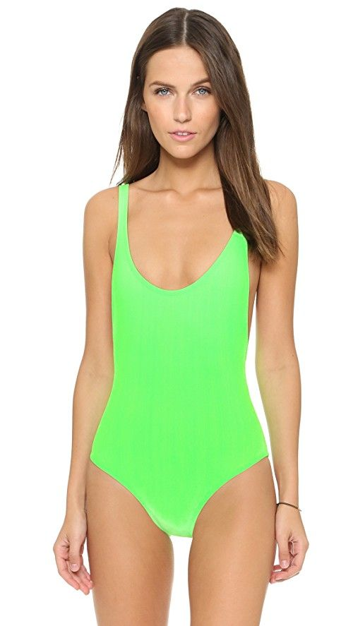 Karla Colletto Elle One Piece | Note: Sizes listed are UK. A neon Karla Colletto swimsuit with a low-cut back. Lined. 76% polyester/24% spandex. Hand wash. Made in the USA. Imported fabric.
