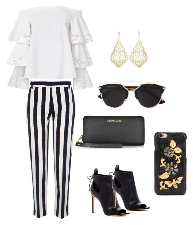 """""""#glam✨"""" by natasyanab on Polyvore featuring Exclusive for Intermix, River Island, Michael Kors, Christian Dior, Vince, Dolce&Gabbana and Kendra Scott"""