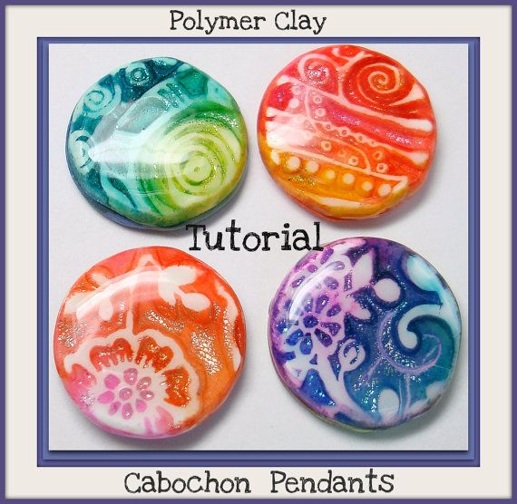 SALE Tutorial Faux Dichroic Pendants polymer clay by BeadazzleMe