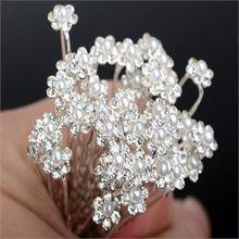 40 ks Svatební Svatební do vlasů Ženy Vlasy šperky Sponky Faux Pearl Girls sponkou vlasové doplňky Květina Crystal vlásenky (Čína (pevninská část))