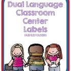 This is a collection of 9 dual language classroom center labels.   The labels include: Biblioteca-Library Centro de abecedario-ABC Center Centro de...