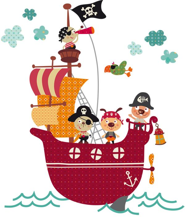 Vinilo decorativo infantil | El barco pirata oh!