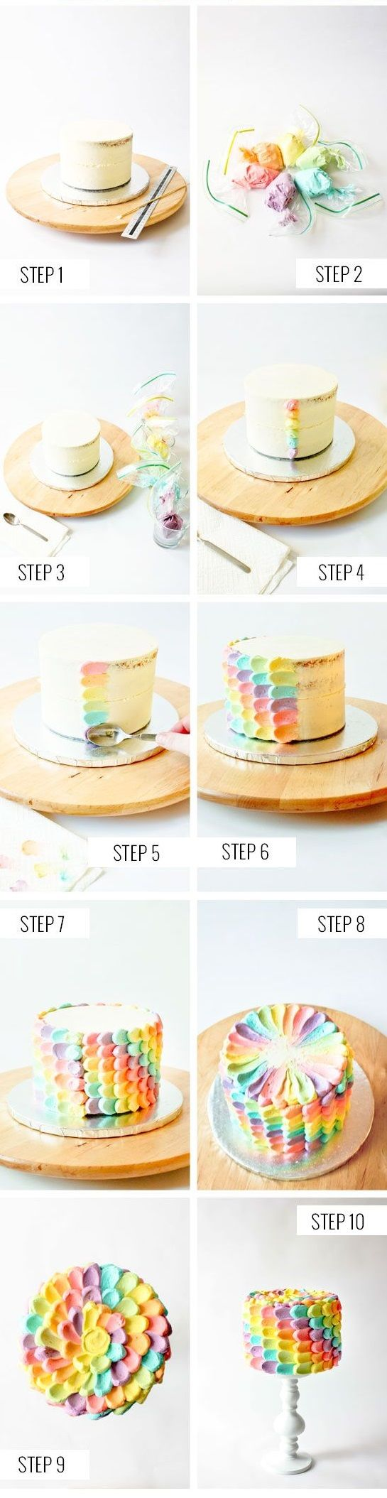 decoración de torta de pétalos de colores