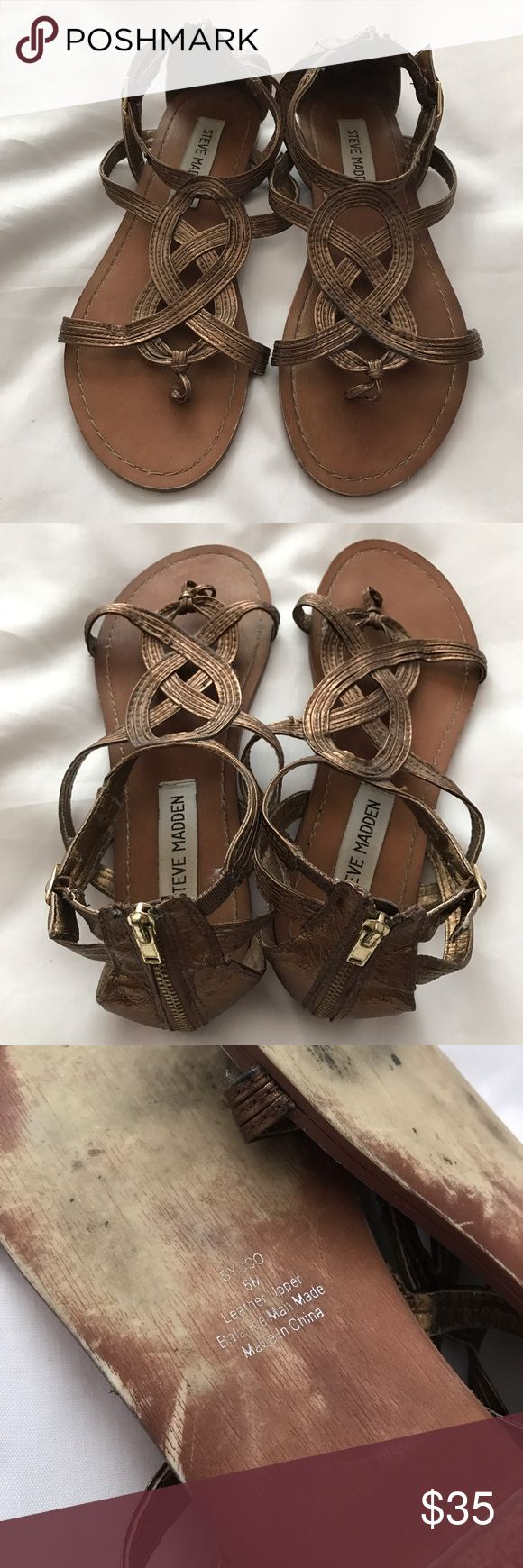 Steve Madden 'Sysco' sandal Women's size: 6 Bronze no box. No trades. Shows signs of normal wear but still has a lot of life to it. Steve Madden Shoes Sandals