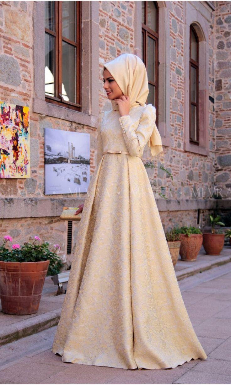 Gold Brokar Abiye Elbise