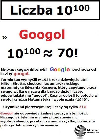 Liczba googol 10100 Jedna z wielu różnic między nieskończonością a niewyobrażalnie wielką liczbą to liczba googol. Ile dzielników ma dana liczba?