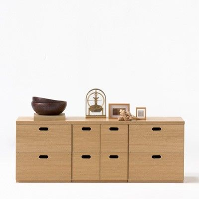 [HD]Stacking Shelf Chest Drawer 4 Tiers Oak
