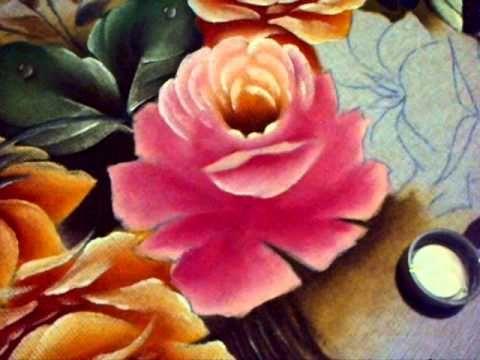Como pintar uma Rosa Pintura em Tecido - YouTube