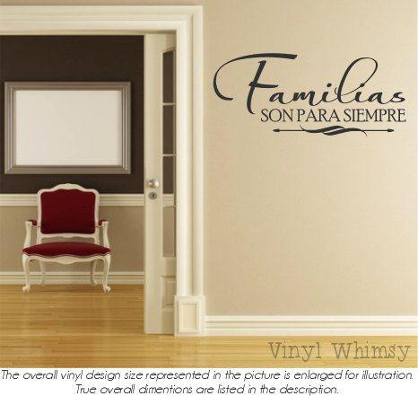 Vinyl Wall Art  Spanish Quote  Familias Son Para by VinylWhimsy, $10.00