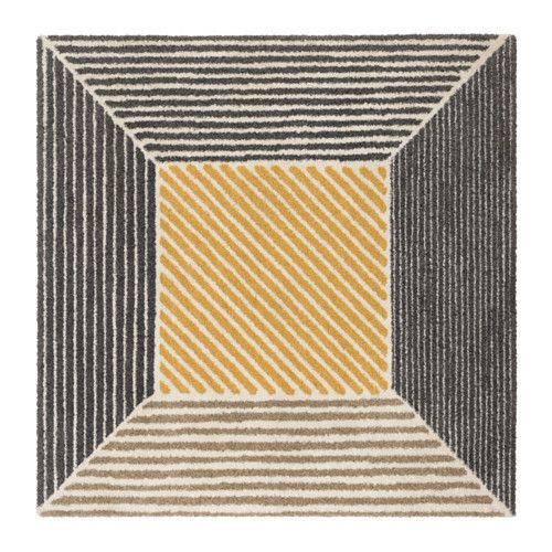 IKEA BIRKET Rug, high pile Yellow/grey 200x200 cm The dense, thick pile dampens sound and provides a soft surface to walk on.