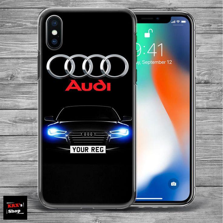 Audi logo CUSTOM REG PLATE THIN plastic silicone case cover NEW iPhone X 8 8plus