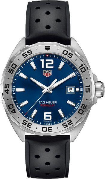 b6c2ff21019 Tag Heuer Formula 1 WAZ1118.FT8023 Blue Dial Steel Case Black Rubber Strap Men's  Watch