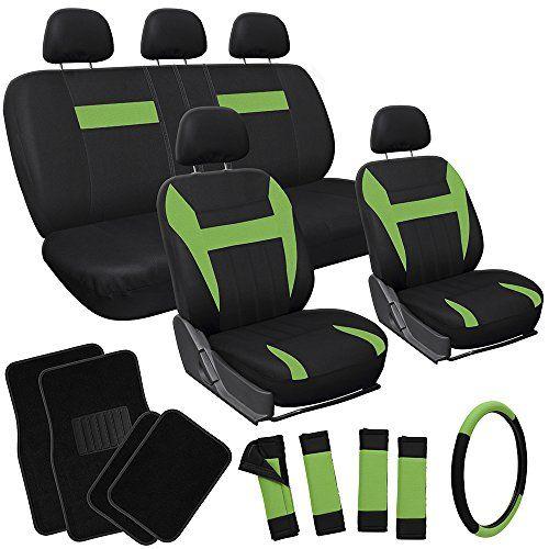 OxGord 21pc Black Green Flat Cloth Seat Cover And Carpet Floor Mat Set For Car
