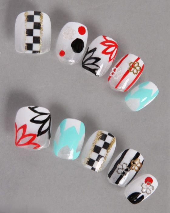 デザインネイルチップ・つけ爪ゆずネイル|ネイルチップ ホワイト 桜・梅 浴衣 着物(A08011-Q-CWH)の販売|ゆずネイル公式通販