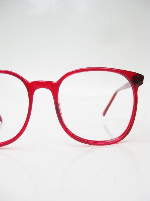 1970s Eyeglasses Crimson Red Glasses Oversized by OliverandAlexa, $68.00