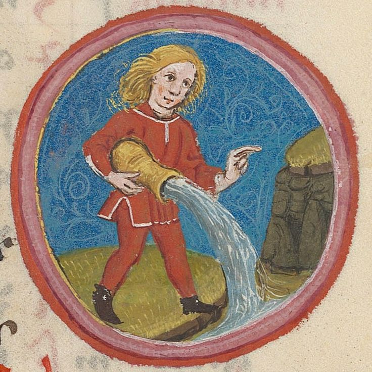 https://flic.kr/p/dN4CxH | Zodiac sign of AQUARIUS in a 15th century manuscript | The zodiac sign of AQUARIUS is associated with the month of January and it is represented by the water carrier. In most of the standard medieval iconographic compositions, the water carrier is represented by a single man or a woman, standing or seated, holding one or two vases from which water pours. Usually set in a landscape, the figure is sometimes immersed in a lake, into which he/she pours the water from…