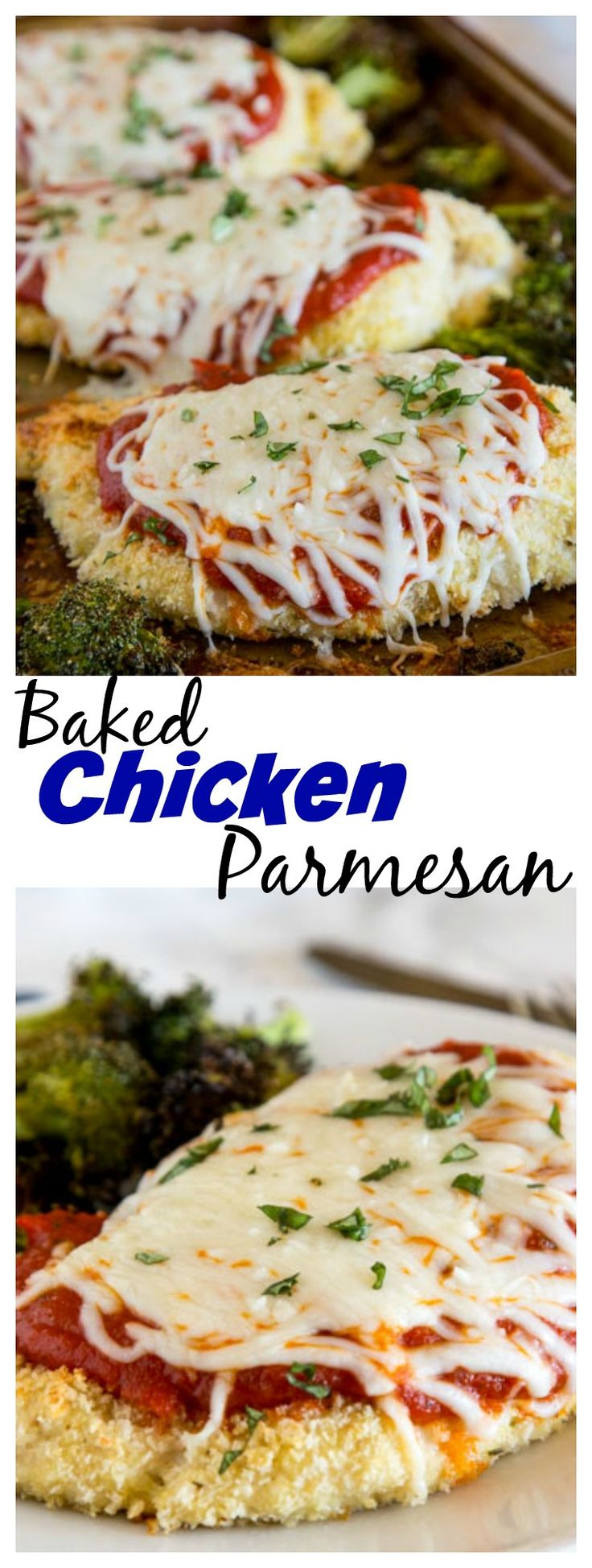 Baked Chicken Parmesan with Roasted Broccoli – a healthier version of chicken Parmesan all made on one baking sheet! Super easy, quick and definitely family friendly.