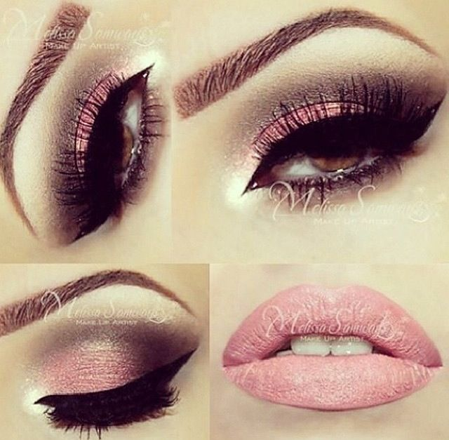Pink eyeshadow with dark brown/black on the crease - heavy winged liner & full lashes finish off the eyes - a matching pale pink pout for the lips...x