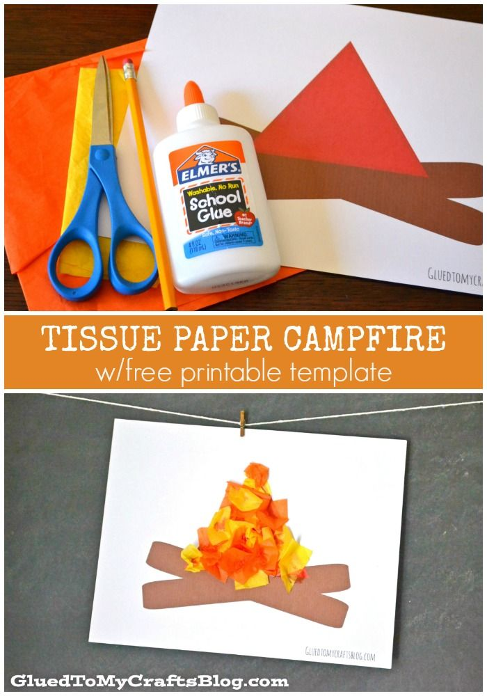 Tissue Paper Campfire - Kid Craft Idea w/free printable template - perfect for summer camps!