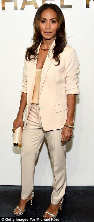 Jada Pinkett Smith was business chic in a cream trouser suit at Michael Kors http://dailym.ai/1qHqPaq #NYFW
