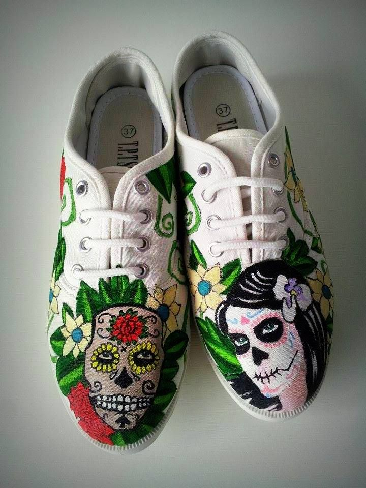 #Handpainted #shoes #textile #waterproofpaint.Theme- Dia de los muertos (Design price starting from 100 Ron) For orders&details please leave a message on Facebook Color M