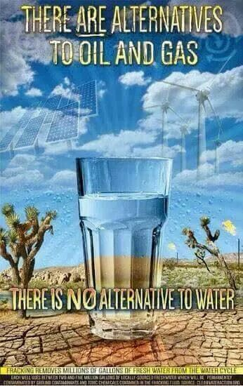 There ARE alternatives to oil and gas.  There is NO alternative to water.