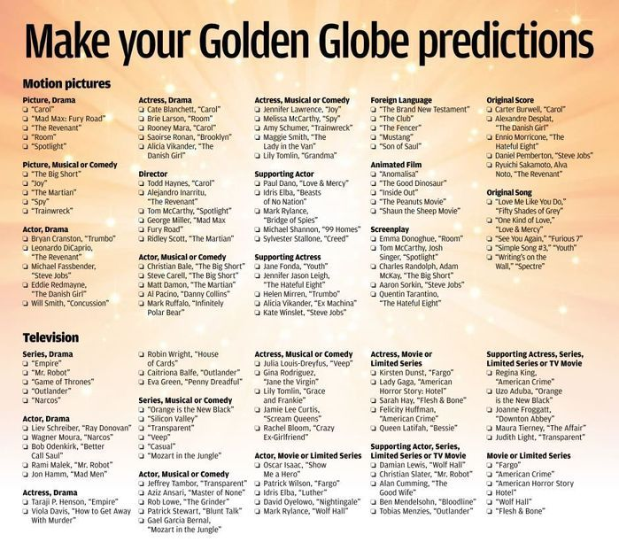 Play along while you watch the Golden Globes. Save this image to your desktop or download a PDF here. Who do you think will win?The Golden Globe Awards air on NBC at 5 p.m. PST.