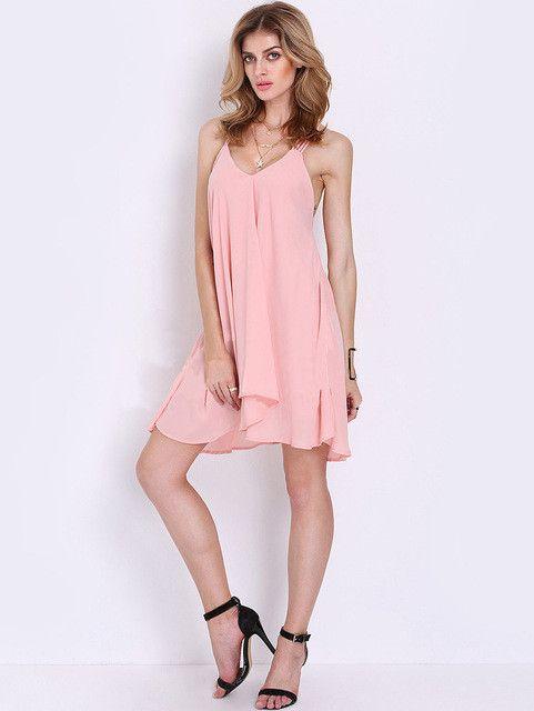Pink Chiffon Spaghetti Strap Women Sun Dress Open Back Sexy Casual Cute Summer