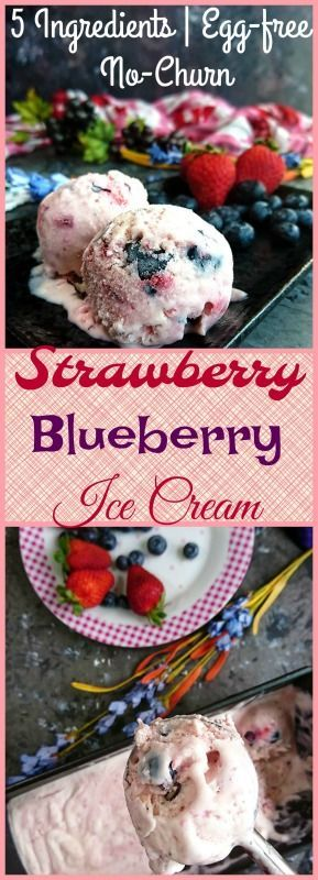 Strawberry Blueberry Ice Cream – 5 Ingredients | Egg-free | No Churn
