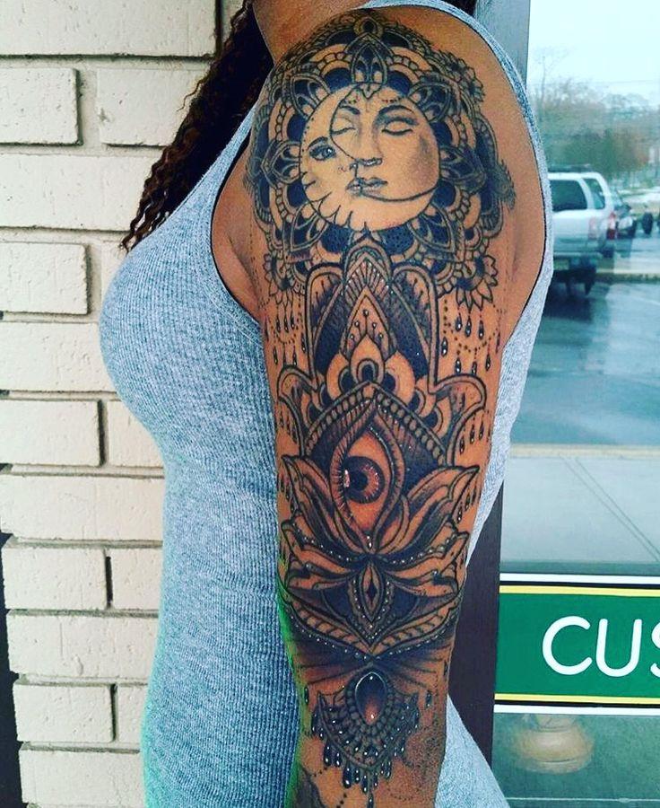 Sun & Moon mandala sleeve #tattoos #sun #moon #lotus #hasma #evileye