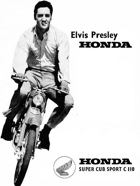 Elvis Presley Auf Einer Honda Super Cub Sport C 110 SportVintage MotorcyclesHonda CityMotorcycle PostersMotorcycle