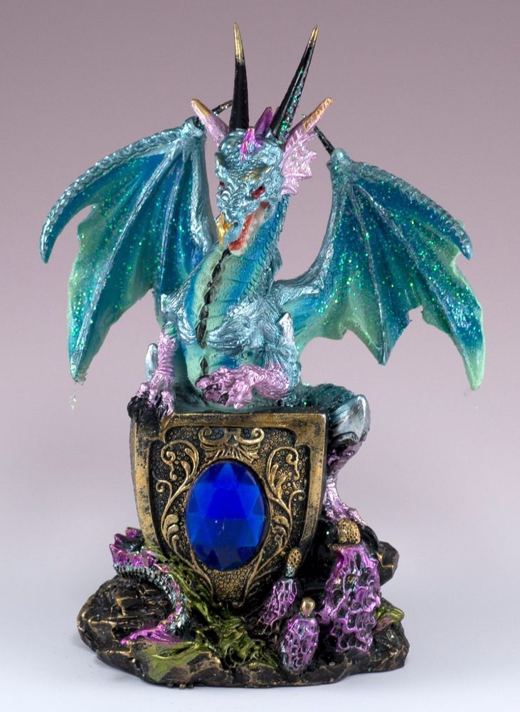 Blue Dragon Figurine Statue With Shield 5 5 H Sparkly Detailed Resin New In Box Dragon Figurines Blue Dragon Sparkly Details