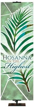 Hosanna in the Highest Banner From PraiseBanners.com Eternal Emblems of Easter Banner Series. Available with stock phrases or as a custom banner.