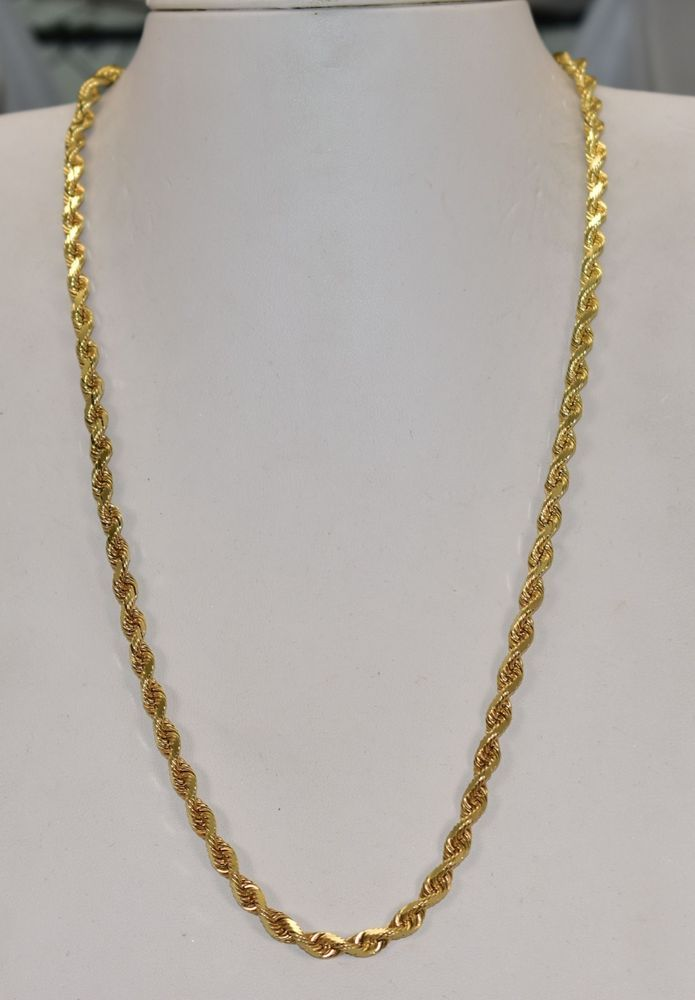 14 K Yellow Gold 4 Mm Solid Rope Chain 20 Inch 26 5 Grams Rope Gold Chain Jewelry Gold Chains For Men Gold Chains