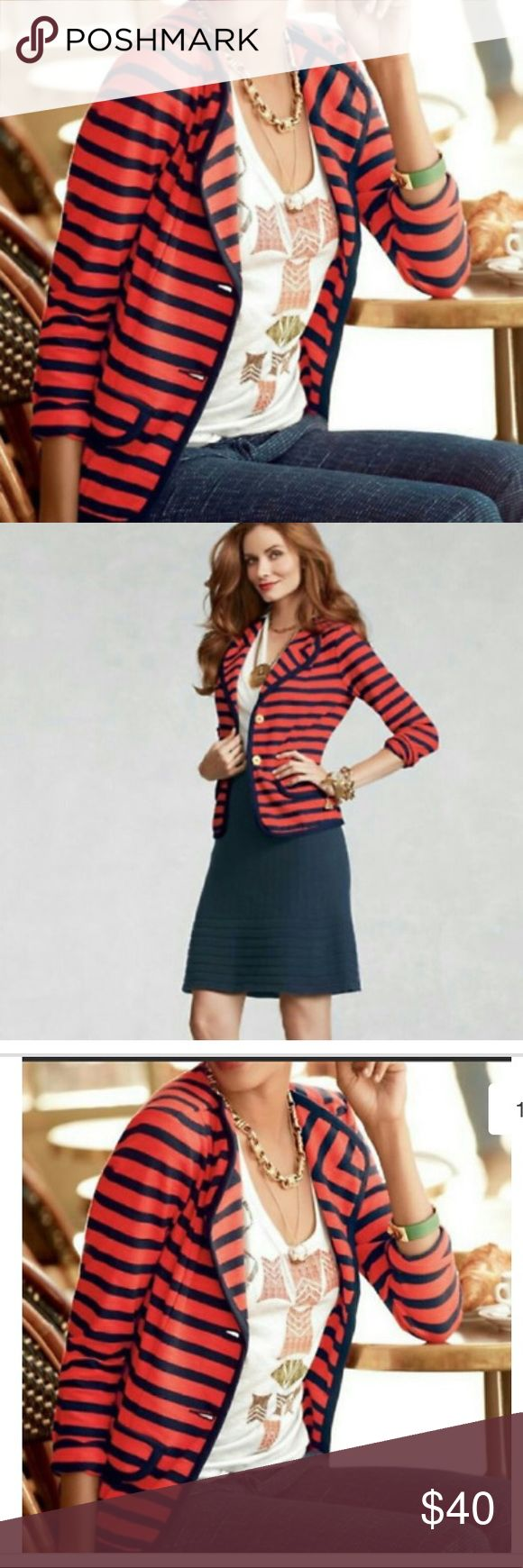 Cabi yacht club striped jacket/blazer! Cabi red and navy blue striped jacket/blazer! Size medium! Excellent condition! Gold front buttons and faux pockets on the front! I love this! 24.5 inches long. Bust measuring across the front 18 inches. CAbi Jackets & Coats Blazers