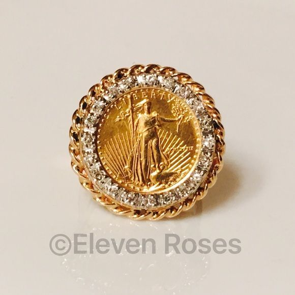 14k Gold Coin XL Statement Ring With Diamonds Extra Large Gold Coin Statement Ring With Diamonds -  20 Bead Set Diamonds / Approx .25 CTTW  -  US $5 Gold Coin (MCMLXXXIX)  -  Ring Hallmarked; '14k'  -  Weighs Approx 9.4 Grams -  Measures Approx 24mm Wide  -  US Size 7.5 - Price Is As Stated Vintage Jewelry Rings